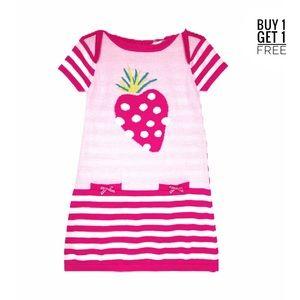 Deux Par Deux Strawberry Knit Dress Girls 4 NEW